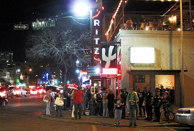 Crowded 6th Street in Austin, TX