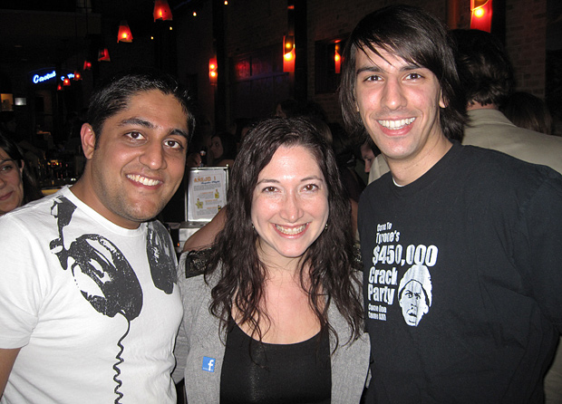 Akshay Dodeja, Randi Zuckerberg and Paul Stamatiou at the Iron Cactus during SXSW 2010
