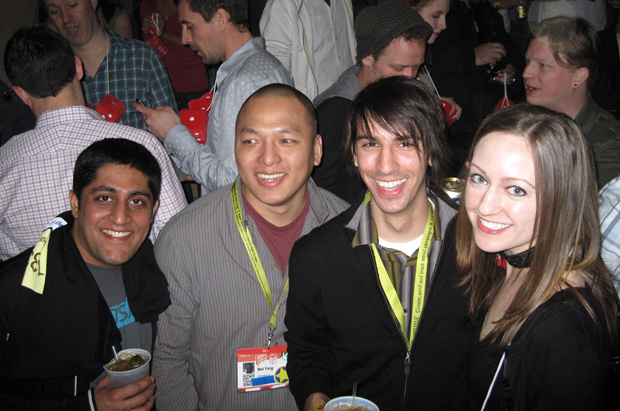 Akshay Dodeja, Wei Yang, Paul Stamatiou and Courtenay Bird at the Diggnation party