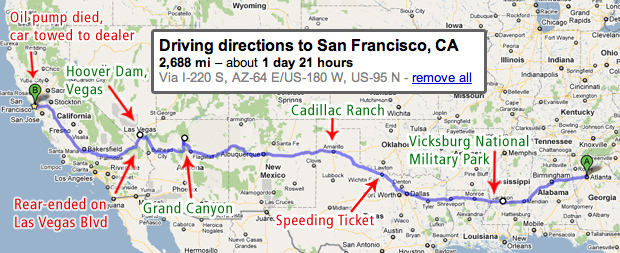 Stammy Roadtrip to San Francisco Route
