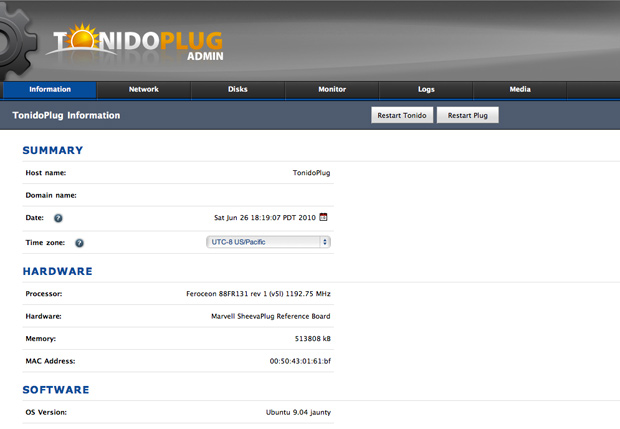 TonidoPlug Admin interface
