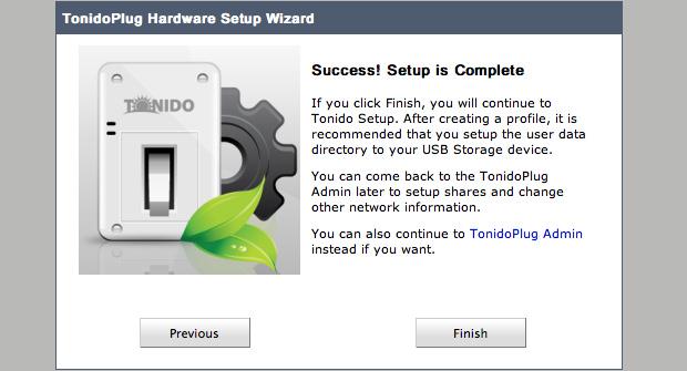 TonidoPlug Hardware Setup Wizard
