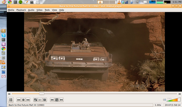 ASUS Eee PC playing a movie over the network in VLC player
