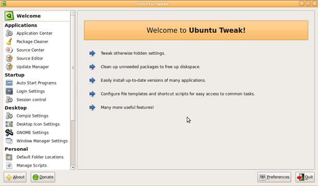 Ubuntu Tweak app
