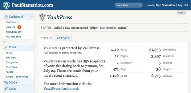VaultPress info in WordPress admin panel