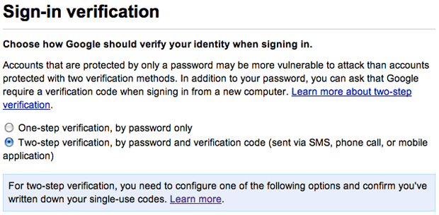 Google Apps Account Sign-in verification setup