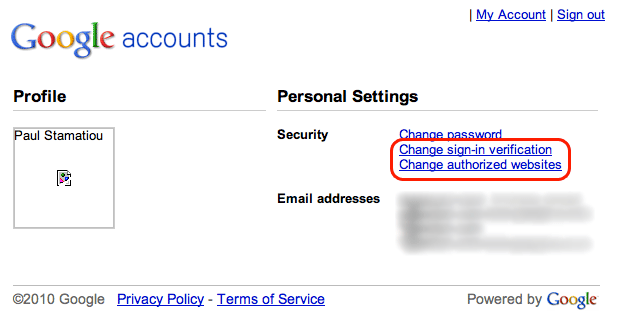 Google Account Security Settings