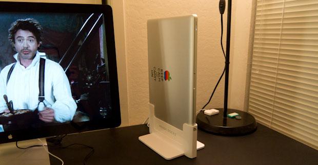 Henge Docks MacBook Pro Angled with Apple LED Display