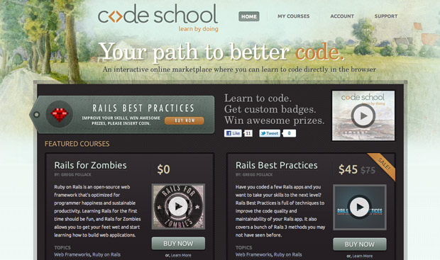 Code School - an interactive online marketplace where you can learn to code directly in the browser