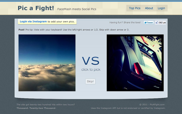 Pic A Fight homepage - Instagram meets FaceMash