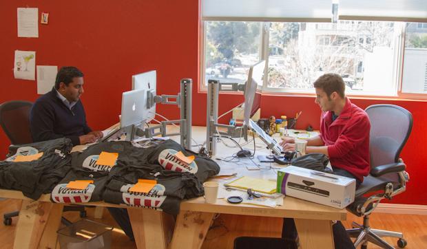 Semil Shah and Jason Putorti working at Votizen HQ
