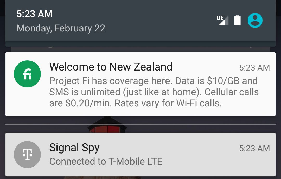 New Zealand Project Fi notification