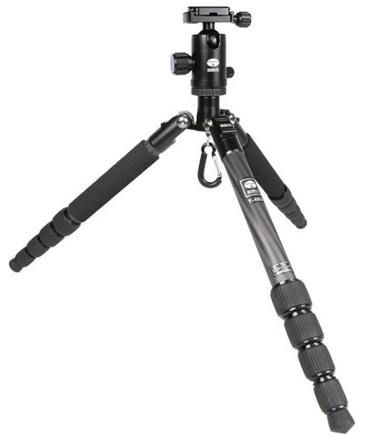 Sirui T-025X carbon fiber tripod with C-10X Ball Head and Case