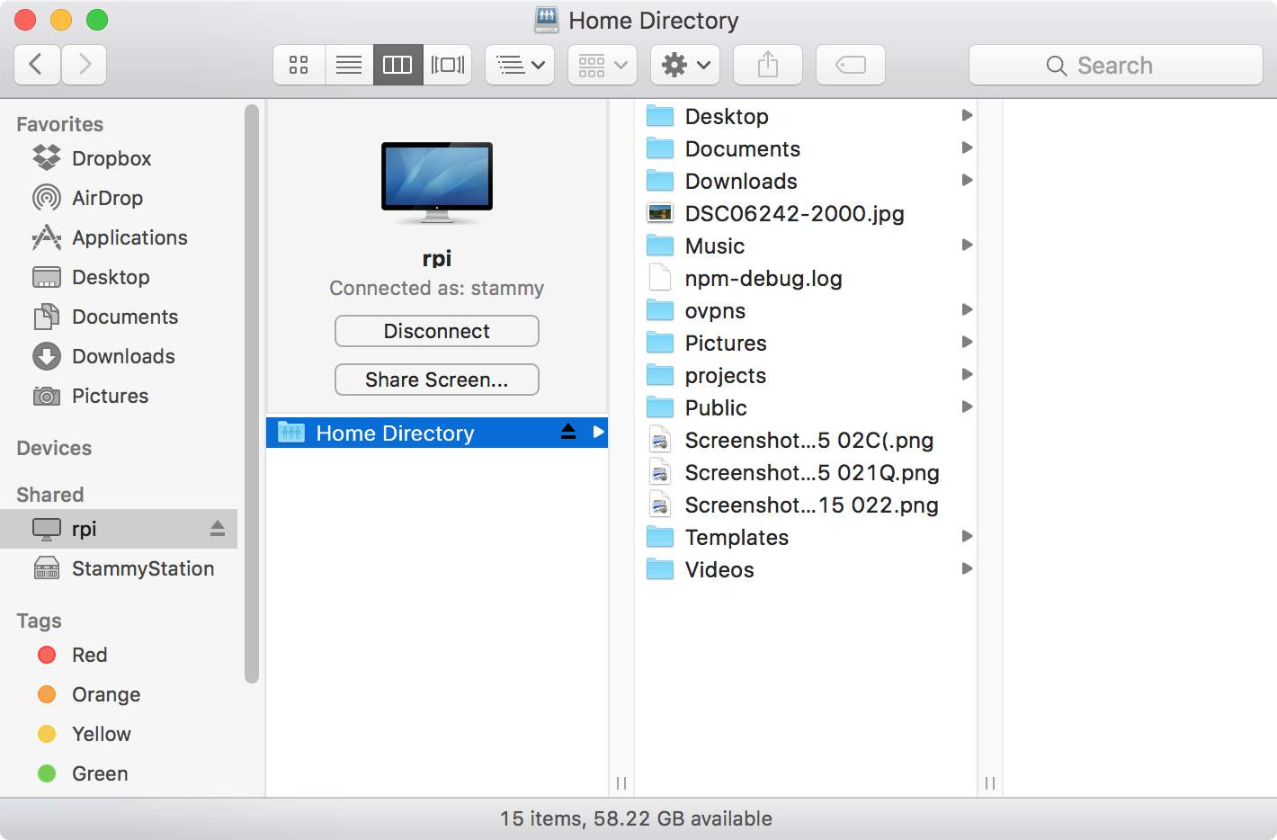 Raspberry Pi visible in the OS X Finder