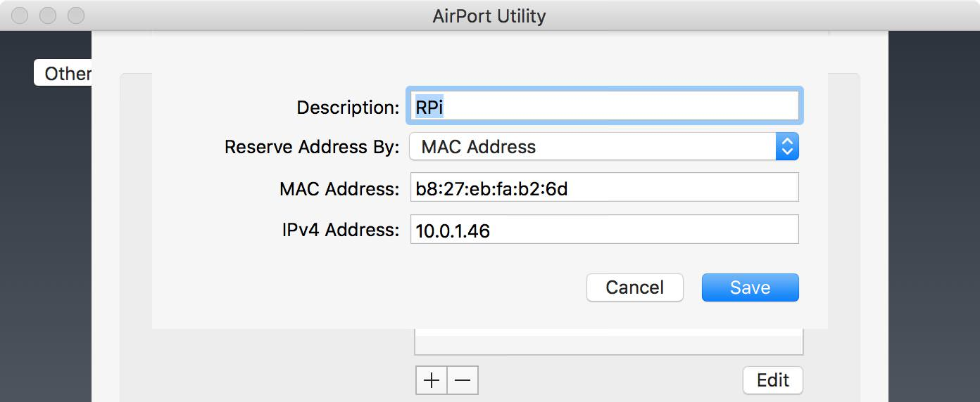 AirPort Utility - DHCP reservation
