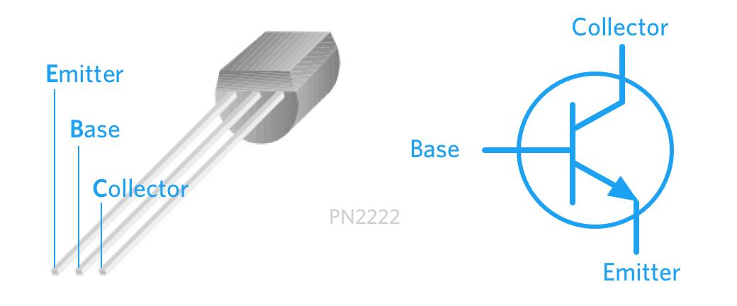 NPN PN2222 Transistor pinout