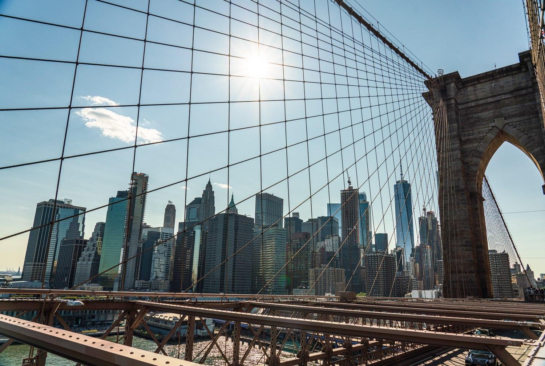 Lower Manhattan as seen from the Brooklyn Bridge.